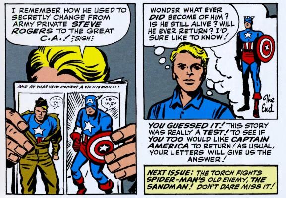 Strange Tales Johnny reading Cap