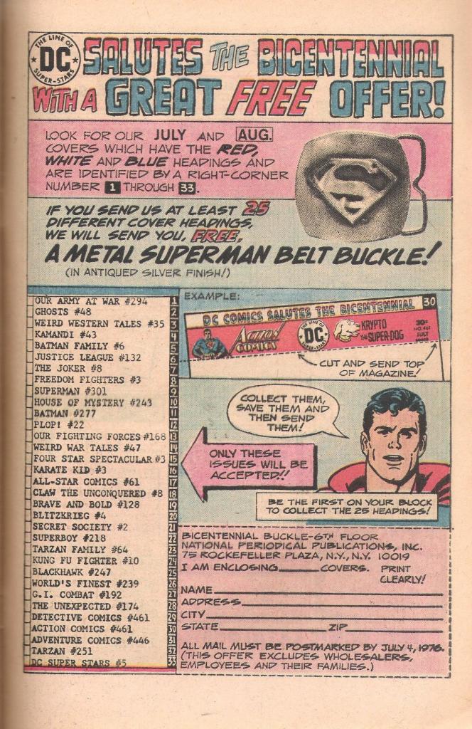 DC Bicentennial Metal Superman Belt Buckle Offer Ad