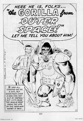 Lee Ditko Gorilla from Outer Space black and white